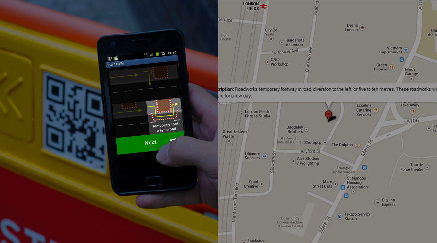 Photo of an app displaying different options for roadworks configuration next to a digital map with a pin featuring a text description of a roadworks site