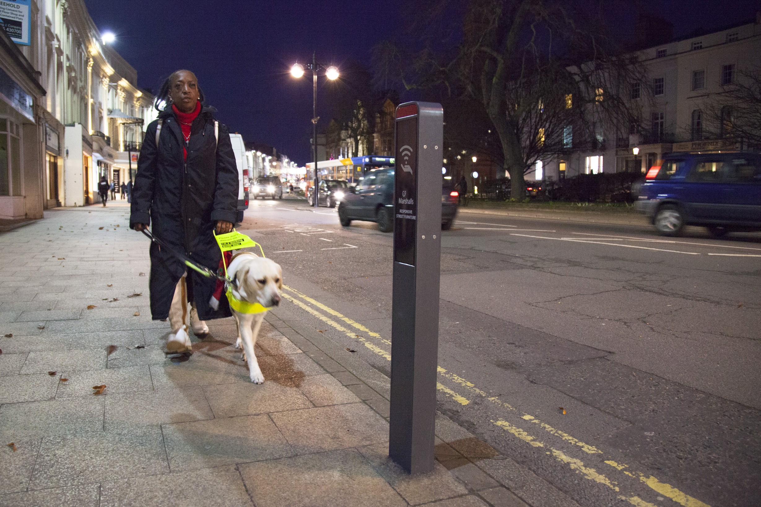 Photo of a Guide Dog user approaching a responsive bollard