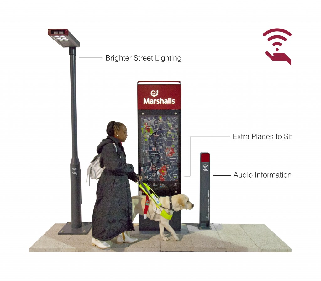 A guide dog user walks past a lampost labelled 'brighter street lighting', a signage totem labelled 'extra places to sit' and a bollard labelled 'audio information'.