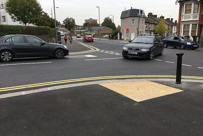 Undeleniated level surface on traffic table with fresh tarmac