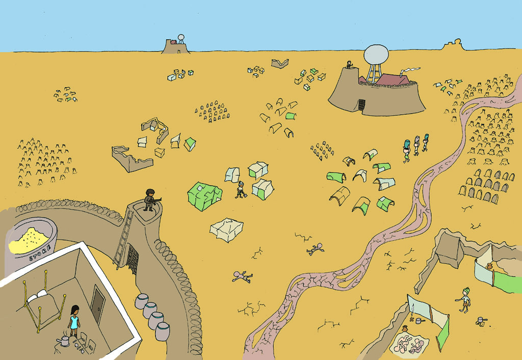 Drawing of a desert filled with tree stumps, makeshift tents, graves and a dried out river. There are also two fortresses being guarded by soldiers which have water towers, food stores and comfortable furnishings inside.