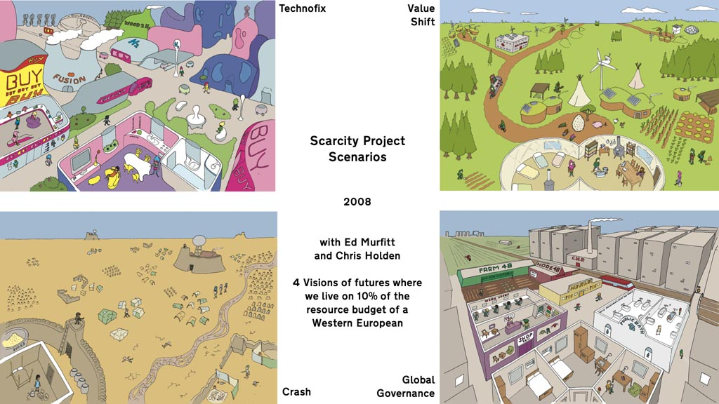 The words 'Scarcity Project Scenarios 2008 with Ed Murfitt and Chris Holden 4 Visions of futures where we live on 10% of the resource budget of a Western European' along with four drawings labelled 'Technofix', 'Value Shift', 'Global Governance' and 'Crash'