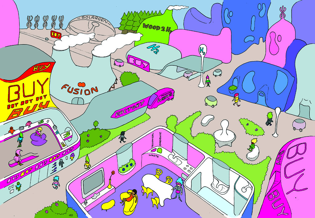 Drawing of a brightly coloured futuristic city. There is advertising everywhere, a fusion power plant, wood to H2 plant and a hydrogen filling station. A waste truck unloads into a factory which is connected to a shop.