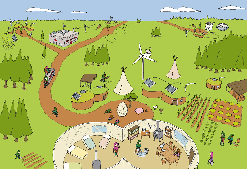Drawing of a rural community living in yerts, tipis and turf roofed houses powered by solar panels and wind turbines. The people are working on the land, talking on mobile phones or worshipping a giant seed sculpture. There is a modern looking hospital towards the horizon
