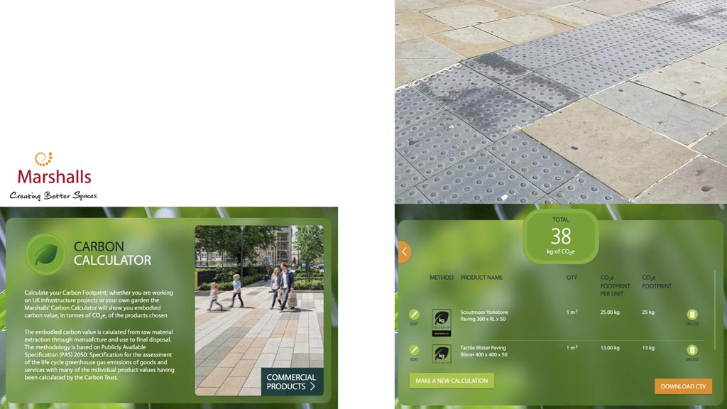 Screen shots from Marshalls 'Carbon Calculator' showing the carbon footprint of pressed concrete tactile paving of 13kg/m2 and of yorkstone paving of 25kg/m2