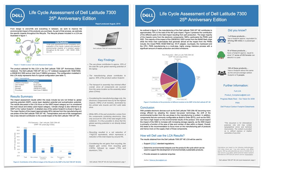 Screen shots from the document 'Life Cycle Assessment of Dell Latitude 7300'