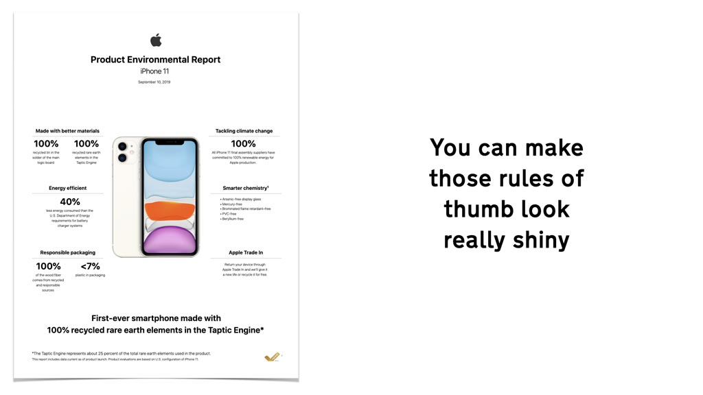 """Screen shot of Apple's 'Product Environment Report; iPhone 11' containing claims about renewable energy used in production and recyclable packaging with text next to it reading """"You can make those rules of thumb look really shiny"""""""