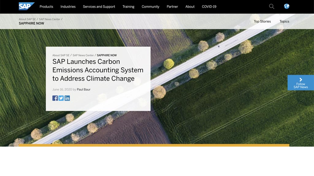 """Screenshot of the SAP website with the headline """"SAP launches Carbon Emissions Accounting System to Address Climate Change"""""""